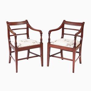 Sillas de escritorio George III antiguas de caoba. Juego de 2