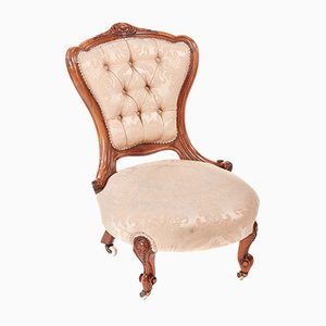 Antique Victorian Carved Walnut Ladies Chair, 1850s