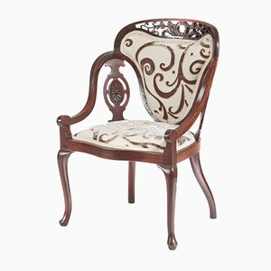 Antique Carved Mahogany Armchair, 1890s
