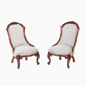 Victorian Carved Walnut Ladies Chairs, 1860s, Set of 2
