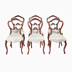 Victorian Carved Walnut Dining Chairs, 1860s, Set of 6