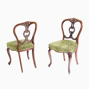 Antike viktorianische Beistellstühle aus Nussholz, 1850er, 2er Set