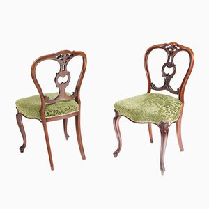 Antique Victorian Walnut Side Chairs, 1850s, Set of 2