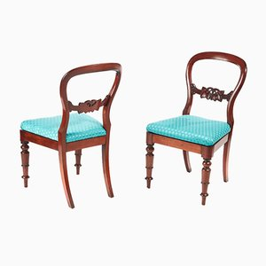 Antique Victorian Mahogany Side Chairs, 1860s, Set of 2