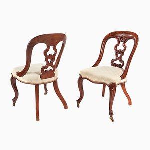 Sillas de escritorio victorianas de caoba, década de 1870. Juego de 2