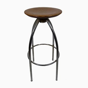 Spanish Wood & Aluminum Stool, 1960s