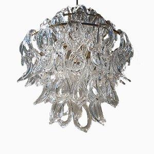 Lámpara de araña Mid-Century de cristal de Murano de Angelo Mangiarotti, años 70
