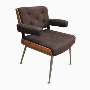 Armlehnstuhl aus Chrom, Holz und Bezugsstoff, 1960er