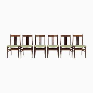 Italienische Mid-Century Grenn Esszimmerstühle, 1960er, 6er Set