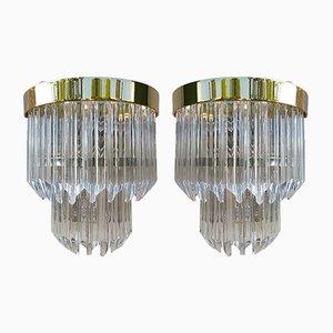 Applique vintage moderne in vetro di Murano, set di 2
