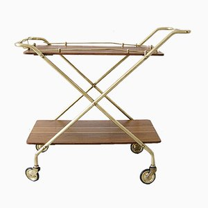 Mid-Century Brass and Teak Foldable Serving Trolley