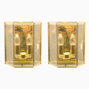 Gilded Wall Lights with Smoked Glass, 1960s, Set of 2