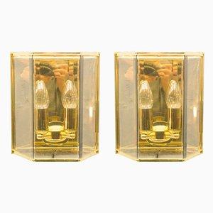 Lámparas de pared doradas de cristal ahumado, años 60. Juego de 2