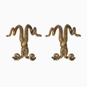 Tiradores esculturales franceses de bronce de Edgar Brandt, años 30