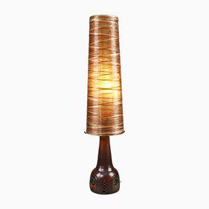 Lampada da terra vintage in ceramica, corda e resina di Les Ateliers Accolay