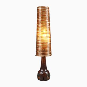Large Vintage Ceramic, Rope & Resin Floor Lamp from Les Ateliers Accolay