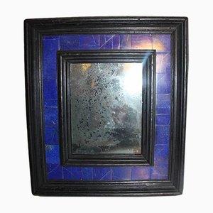 Espejo antiguo pequeño de madera ennegrecida y lapislázuli