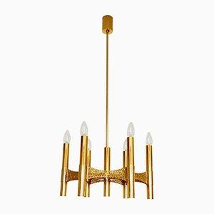 Lámpara de araña brutalista dorada de Gaetano Sciolari, años 60