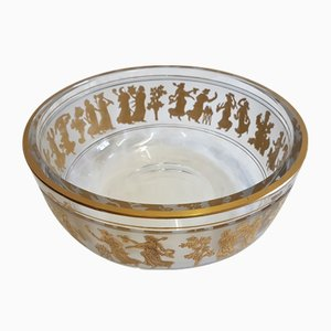 Vintage Crystal Glass Bowl with Golden Figures from Val Saint Lambert