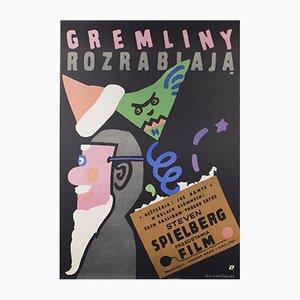 Póster polaco de la película Gremlins de Jan Mlodozeniec, 1985