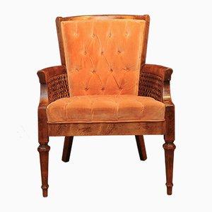Fauteuil Colonial Bergère Orange Boutonné Vintage