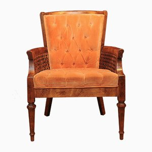Vintage Colonial Buttoned Orange Bergere Armchair