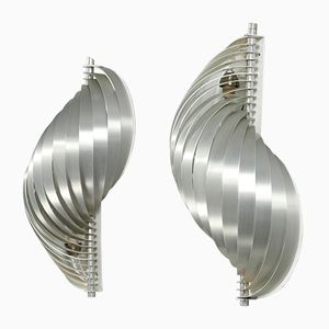 Vintage Metal Wall Lights by Henri Mathieu for Maison Mathieu, Set of 2