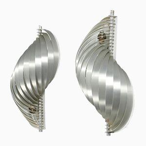 Vintage Wandlampen aus Metall von Henri Mathieu für Maison Mathieu, 2er Set
