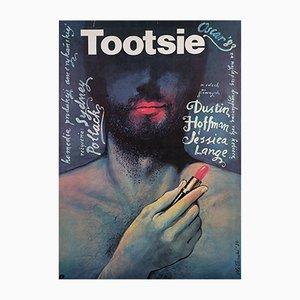 Póster polaco de la película Tootsie de Wieslaw Walkuski, 1984