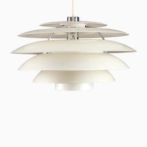 Lámpara de suspensión vintage de aluminio blanco de Stilnovo