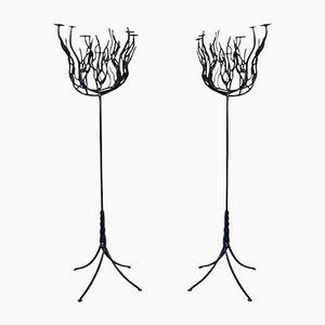 Lámpara de araña en forma de árbol de hierro forjado, años 40. Juego de 2
