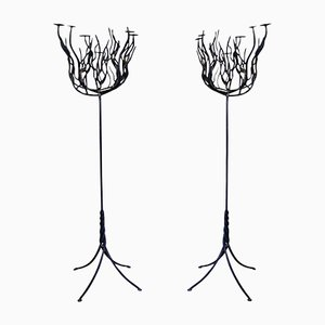 Tree Shaped Wrought Iron Candleholders, 1940s, Set of 2