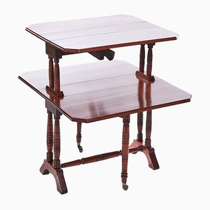 Antique Walnut 2 Tier Sutherland Table, 1880s
