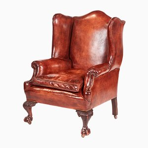 Antique Leather Wing-Back Library Chair