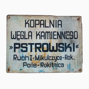 Industrielles Pstrowski Kohlenbergwerk Schild, 1970er