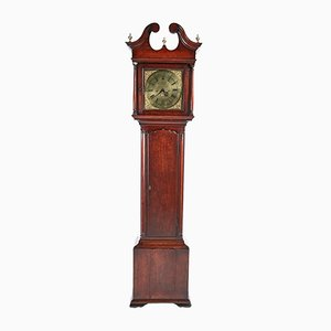 George II Brass Face Red Walnut Longcase Clock from Hariman of Workington, 1750s
