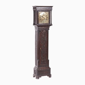 Antique Carved Oak & Brass Longcase Clock from H Lough