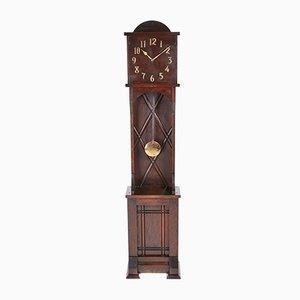 Reloj de caja alta 8-Day Art Déco vintage de roble