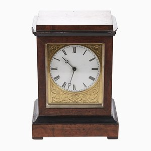 Antique Burr Walnut Ebonised Cased Desk Clock from Baldwin
