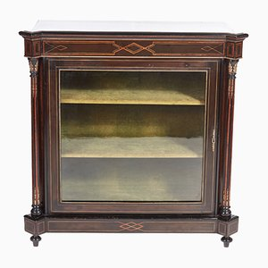Antique Victorian Ebonised & Inlaid Display Cabinet