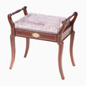 Antique Mahogany Freestanding Inlaid Piano Stool