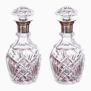 Decanter vintage in argento e vetro tagliato, set di 2