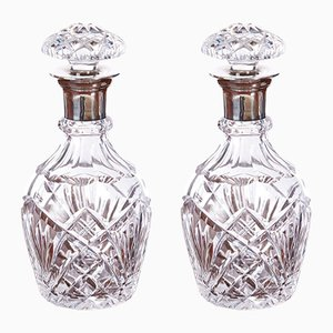 Vintage Silver & Cut-Glass Decanters, Set of 2