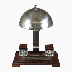 Art Deco Desk Lamp with Inkstand and Inkwells, 1930s