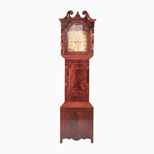 Grande Horloge 8 Jours Antique en Acajou Peinte sur la Face Avant