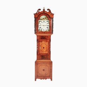 Reloj de caja alta antiguo de roble y caoba de WM Hargravers