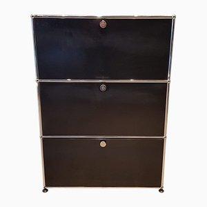 Mueble negro de Fritz Haller & Paul Schärer para USM Haller, años 80