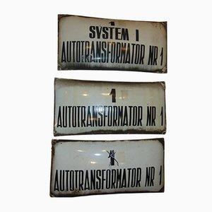 Industrielles 3-teiliges polnisches Vintage Schild