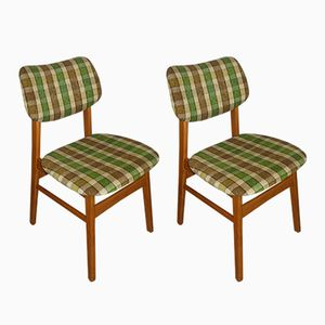 Mid-Century Green Checkered Dining Chairs, 1960s, Set of 2