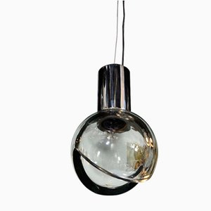 Grey Glass Globe Pendant Light from Seguso, 1960s